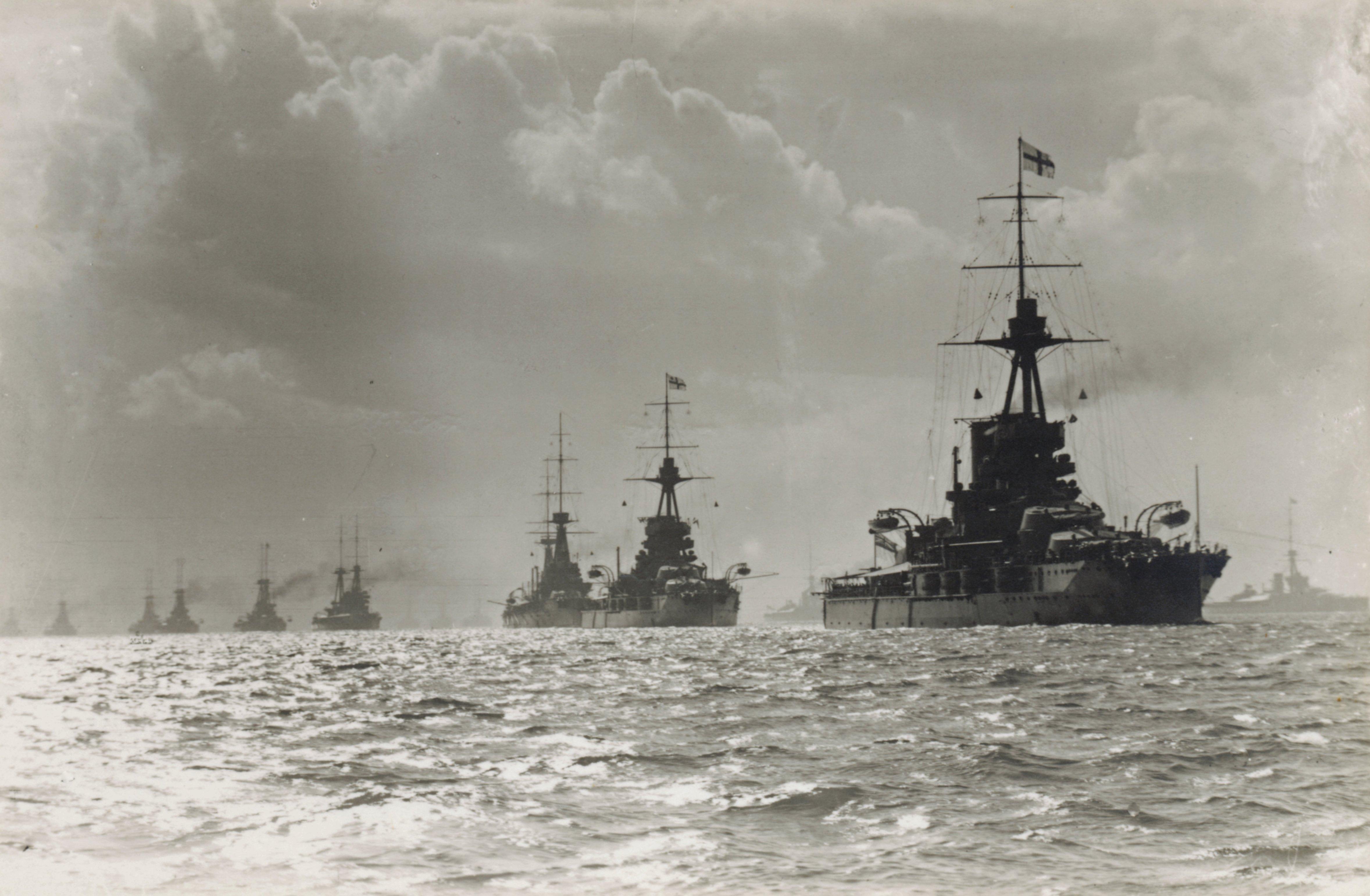 A Grand Fleet a nyílt tengeren.