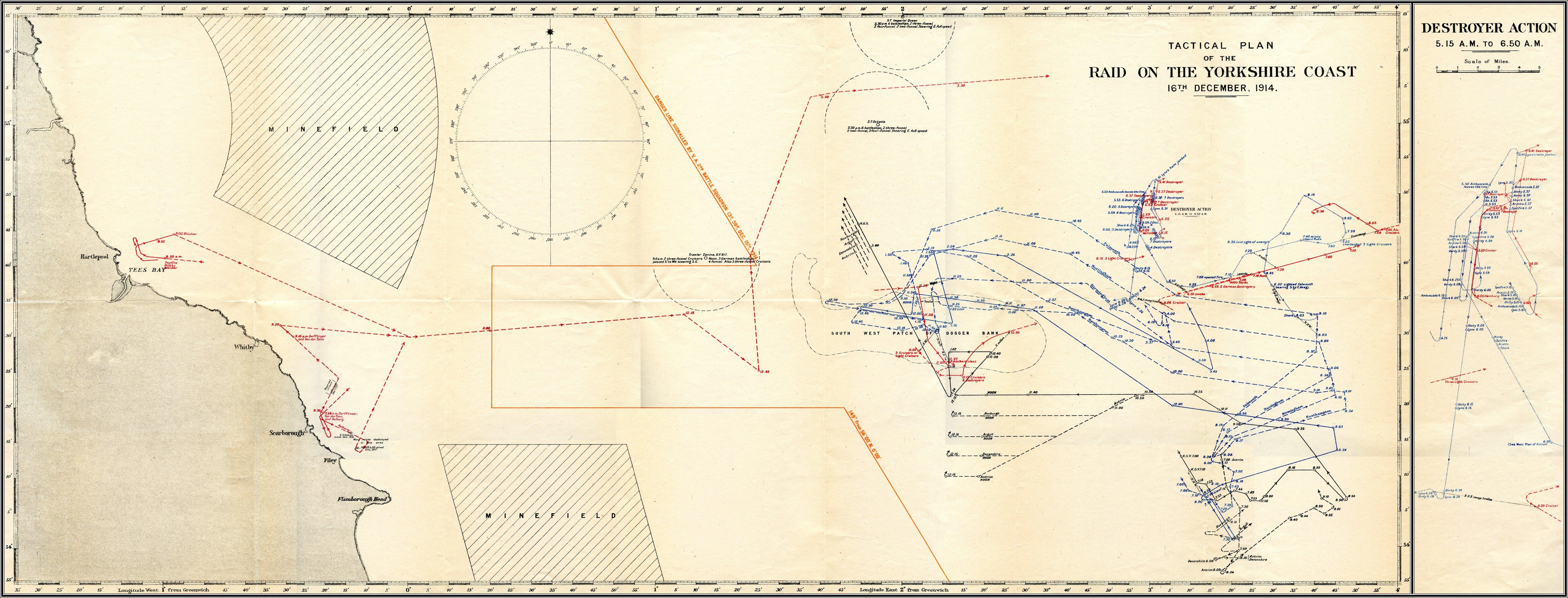 A hadművelet térképe, érdekes rajta bogarászni. A térképet az angolok készítették, így a saját hajóik útvonala pontosan fel van tüntetve, a németeké viszont csak hozzávetőlegesen, a britek feltételezései alapján.
