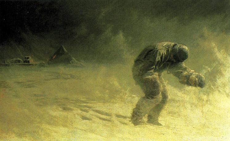 Oates az önkéntes halálba indul, John Dollman festményén.