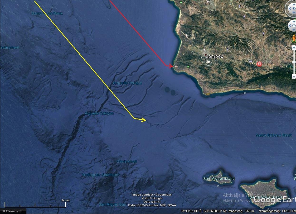 A baleset helyszíne a Google térképén. A sárga vonal a kötelék számított útvonalát jelzi, a piros a ténylegeset.