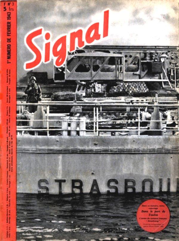 A Signal híres címlapja, a megfeneklett Strasbourg tatfedélzetén őrt álló német katonával.
