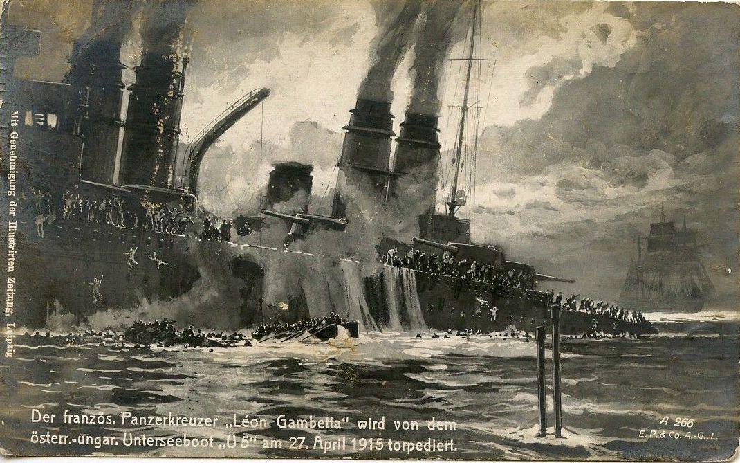 A Leon Gambetta süllyedése, egy korabeli képeslapon.