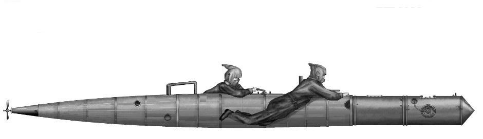 Mint a rajzon is látható, a Mignatta személyzetét még nem lehetett torpedólovasoknak nevezni.