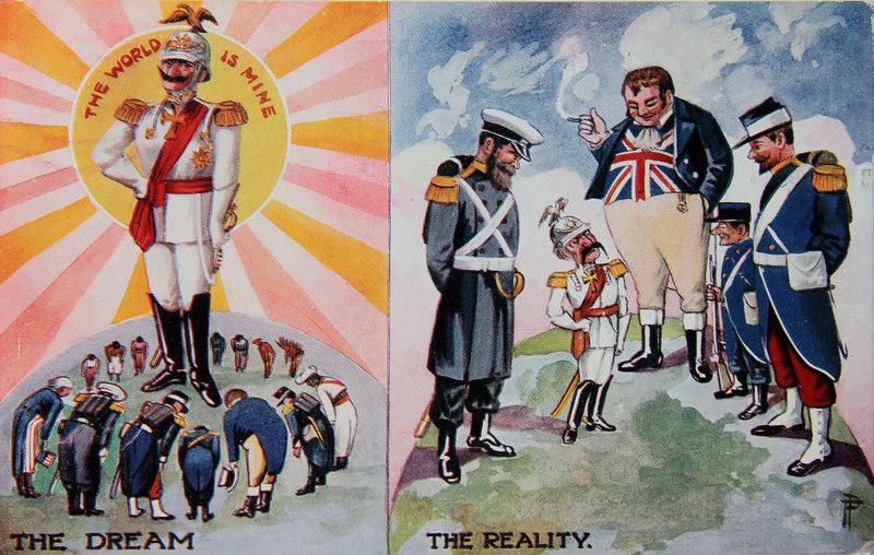 Álom és valóság. Első világháborús angol karikatúra a német ambíciókról.