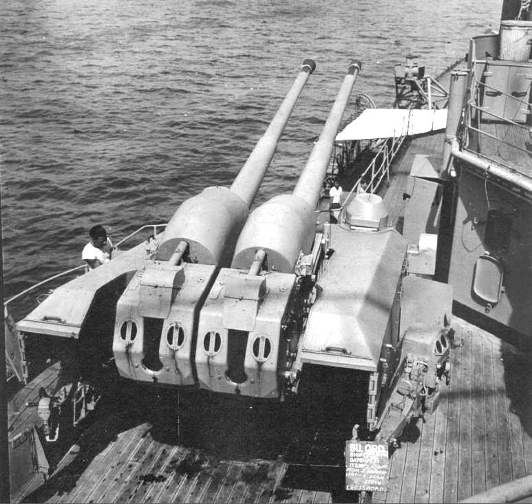 Egy 105 mm-es lövegtorony a Prinz Eugen fedélzetén.