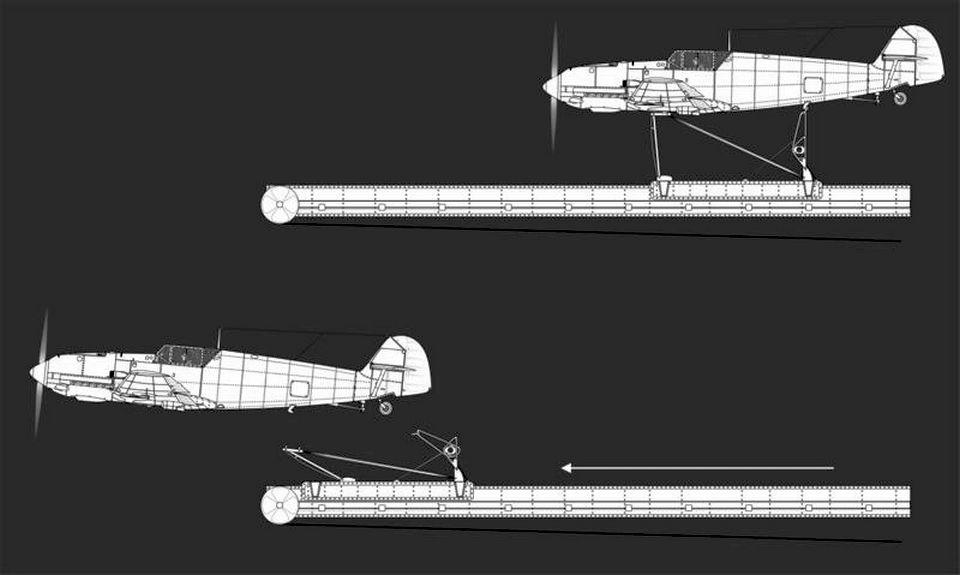 Me-109 katapultálása egy rajzon.