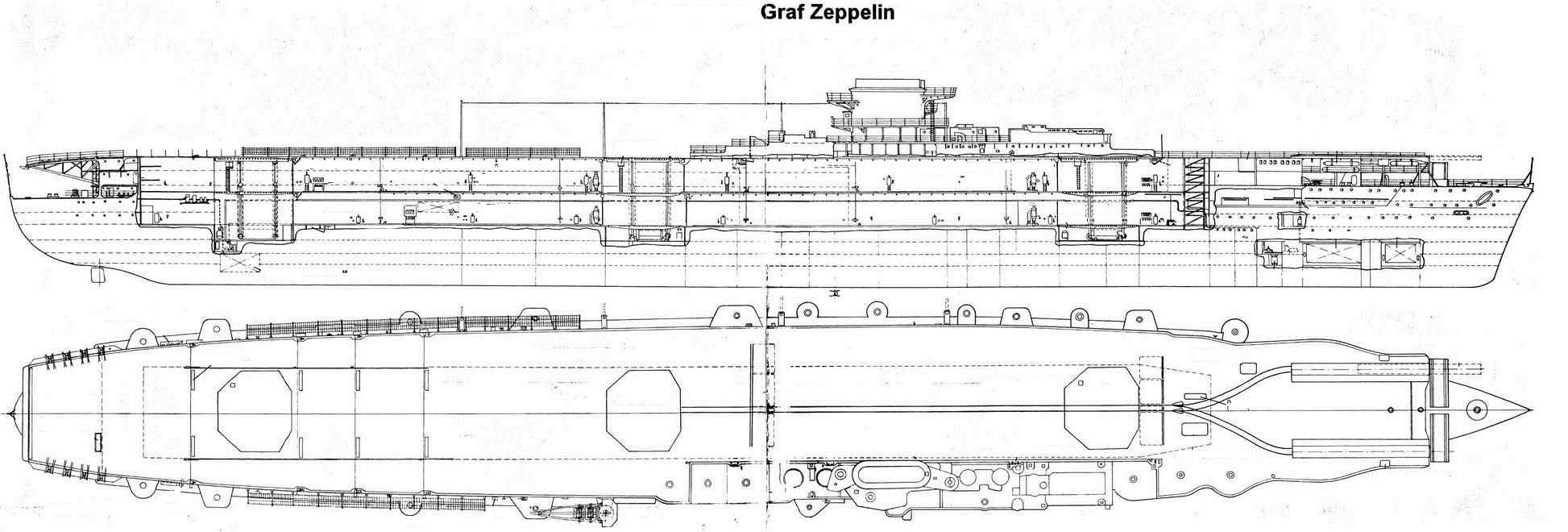A Graf Zeppelin elrendezési rajza.