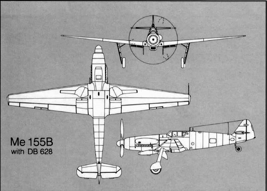 A Me-155 vázlatrajza.