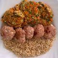 #napimenu: Barna rizs, cottage cheese-es (sütőben sült) #pulykafasirt és zöldséges tócsni