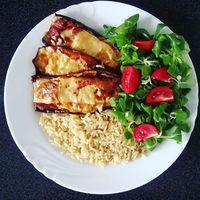 Mai mennyei ebédem: Barna rizs, olasz padlizsán, madársalata és koktél paradicsom