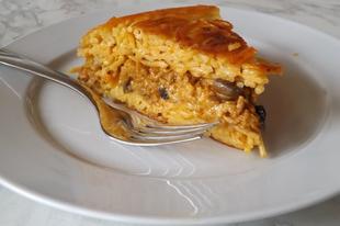 Sajtmártásos, gombás tészta omlett