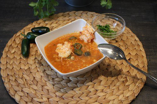 Garnélás, jalapeno-s vöröslencse leves