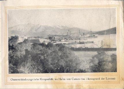 Osztrák-magyar hadihajók Cattaro kikötőjében, háttérben a Lovcsen