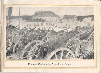 Zsákmányolt montenegrói (leginkább francia gyártmányú) lövegek a cetinjei arzenálban