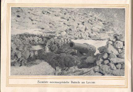 Egy elpusztított montenegrói üteg a Lovcsenen
