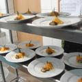 Fekete kagyló hús cointreau-vel flambírozva,  narancsos; zsályás sütőtökpürével