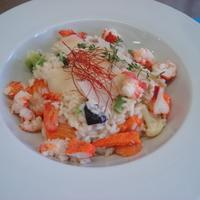 Homár rizottó kerti zöldségekkel