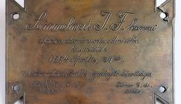 Memorial plaque from tomb of Semmelweis in Budapest (Kerepesi Cemetery)