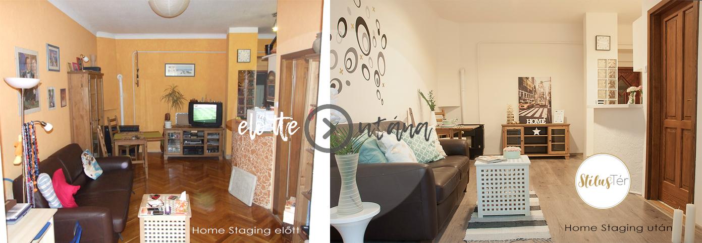 Nappali Home Staging előtt és után