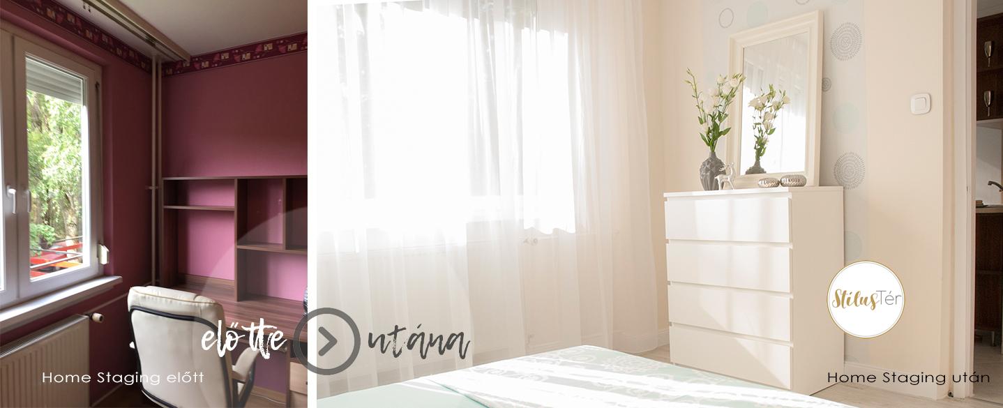 Hálószoba - Home Staging előtt és után
