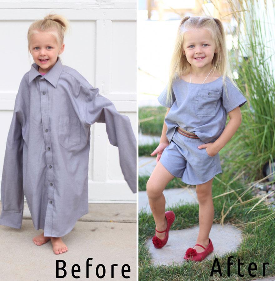 A férje régi ingeiből csinált cuki kislányruhákat egy kreatív anyuka!