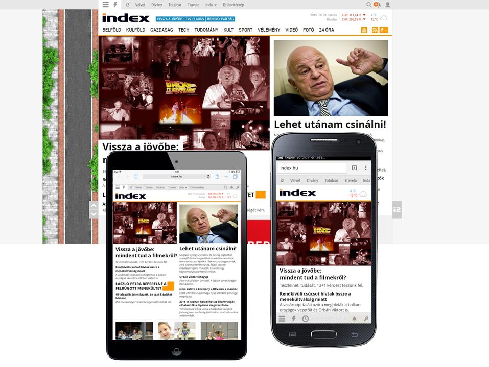 Vissza a jövőbe cikk Index címlapi vezetőben kiemelve (desktop + tablet + mobil)