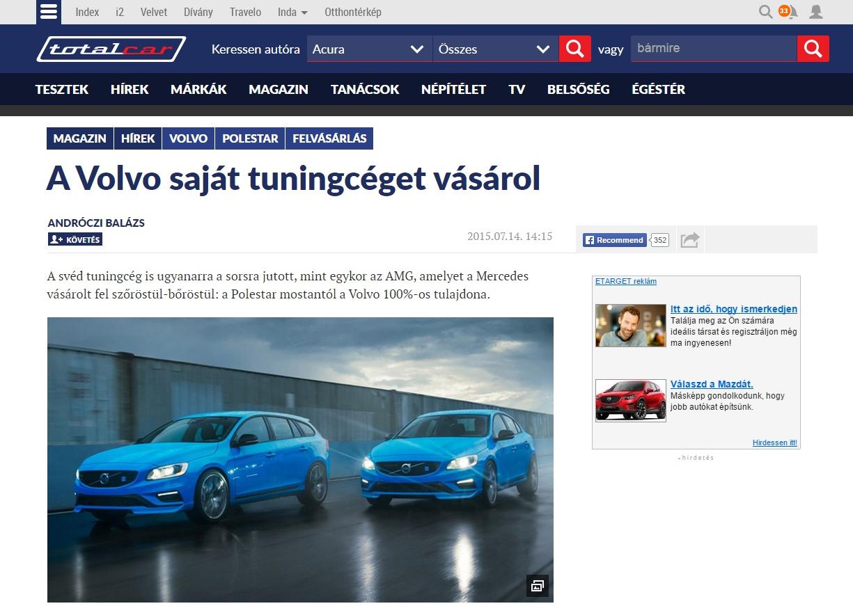 Új Totalcar cikkoldal