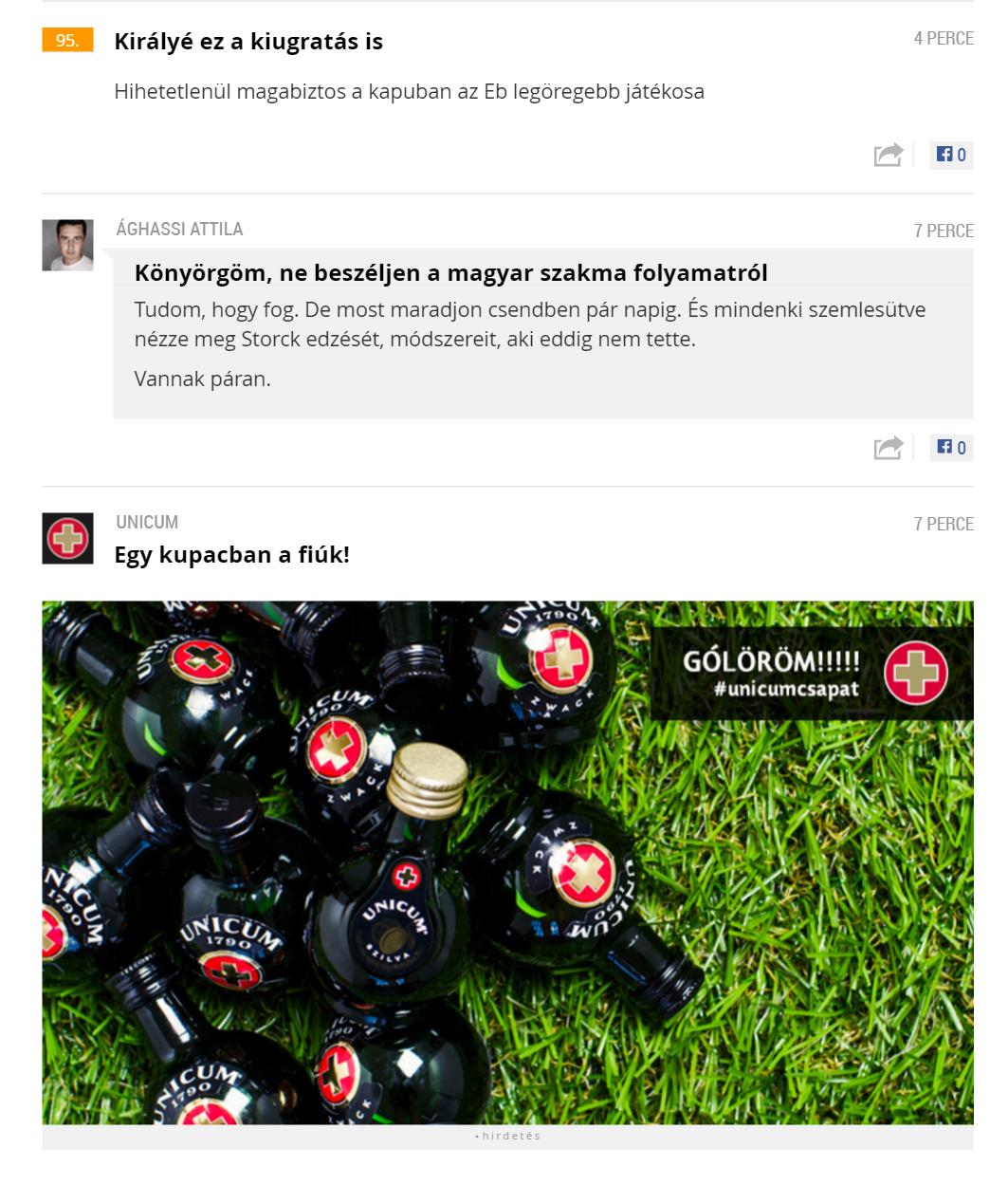 Az Unicum is eljátssza a magyar meccsek legjobb jeleneteit az Index közvetítésén