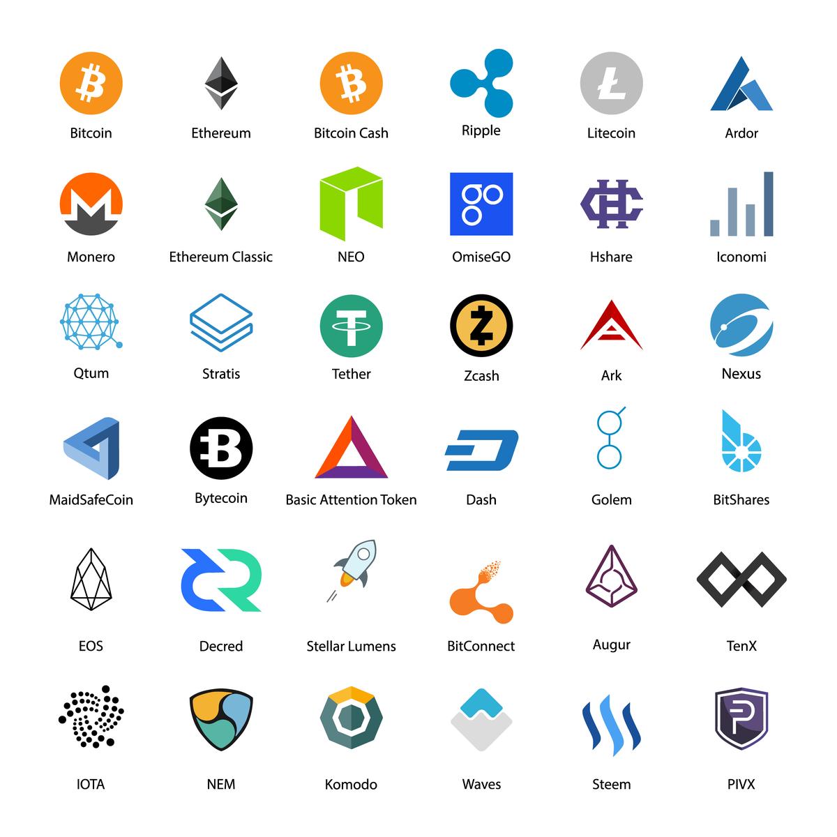 Ethereum, Bitcoin, Litecoin, Stellar, NEM, NEO, Qtum, Monero, EOS, Decred, stb...