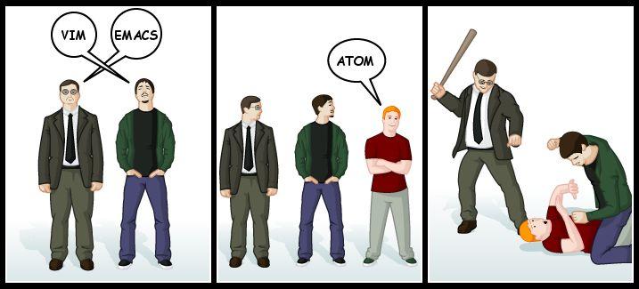 Vim vs Emacs vs Atom vicces mém