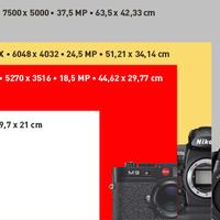 M9, D3x, S2 nagyítási méretek*