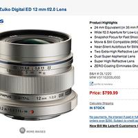 Már rendelhető az Olympus M. Zuiko Digital ED 12 mm f/2.0 objektív