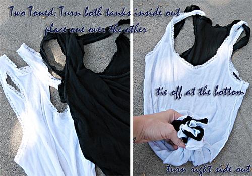 1. verzió  két különböző színű pólót fordíts ki és tedd az egyiket a  másikba. Az aljukat szorosan gumizd össze 356439c511