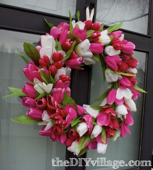 Tulipános ajtódísz