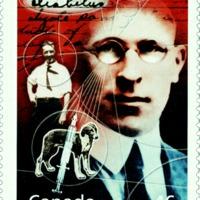 Kézírás Frederick Banting, az inzulin felfedezőjének millenniumi emlékbélyegén