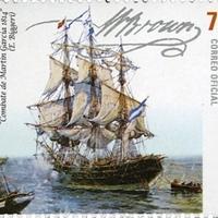 William Brown tengernagy aláírása argentin bélyegen