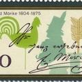 Eduard Mörike kézírása és aláírása német emlékbélyegén