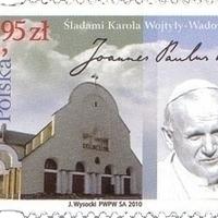 II. János Pál pápa aláírása lengyel emlékbélyegén