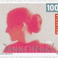 Jeanne Hersch svájci filozófus aláírása emlékbélyegén