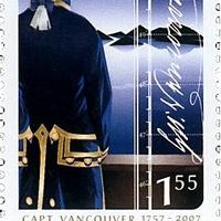 Vancouver kapitány aláírása kanadai emlékbélyegén