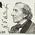 Andersen aláírása dán emlékbélyegén