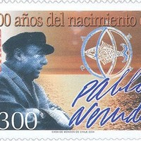 Pablo Neruda aláírása chilei emlékbélyegén