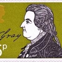 A költő Thomas Gray aláírása brit bélyegen