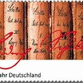 A Schiller-év bélyegén a német költő aláírása