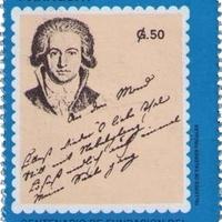 Goethe kéziratos költeménye paraguay-i bélyegen