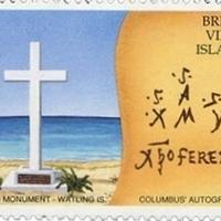 Kolumbusz kézjegye a Brit Virgin-szigetek bélyegén