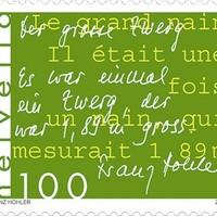 Egy teljes történet kétnyelvű svájci bélyegen