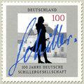 Schiller neve kézzel írva egy német bélyegen