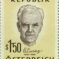 Anton Eiselsberg osztrák sebész aláírása emlékbélyegén