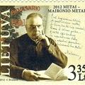 A litván pap és költő, Maironis kézírása emlékbélyegén